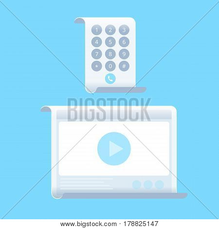 The smart phone and tablet computer with flexible screenes. Flat vector illustration of future smartphone and pad. Innovation technologies concept. Design element for presentation web infographics.