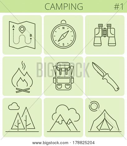 Camping outdoor tourism outline icons: tent backpack compass mountains campfire knife. Vector thin line contour symbol set. Isolated infographic elements for web presentation social networks.