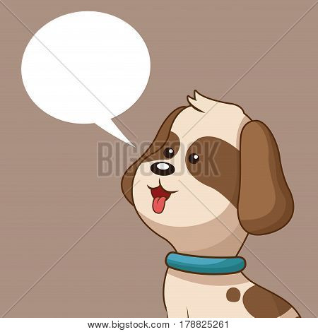 lovely doggy and bubble speech vector illustration eps 10