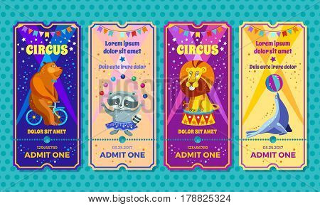 Circus big show with trained animals entrance ticket template. Invitation coupon with bear on a bike, raccoon-juggler, performing Lion, seal-equilibrist. Vector illustration.