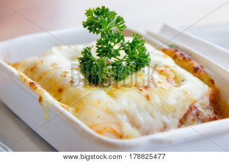Baked Spinach Supreme in Small White Bowl