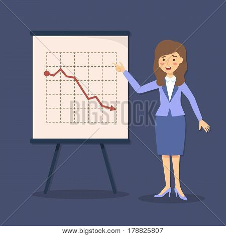 Businesswoman giving presentation with crisis arrow down and decrease business progress on blue background vector illustration.