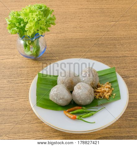 Thai Traditional Dessert Thai Steamed Tapioca Balls Made From Glutinous Rice Filled with Minced Pork and Sweet Pickled Daikon Radish.