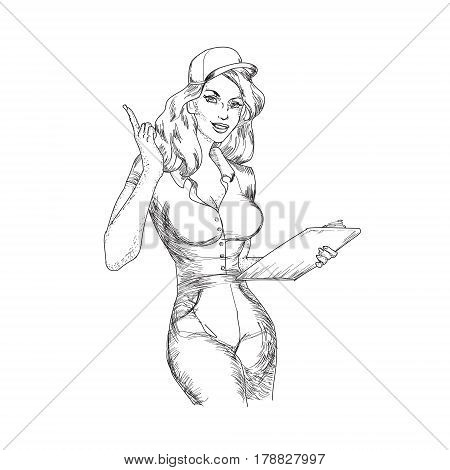 Vector eps illustration with sexy woman showing courier services in retro vintage style