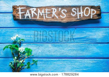 Background of narrow wood planks painted in blue. Bunch of blooming apple tree and young black current twigs. Wood signboard with text 'Farmers shop' as title bar