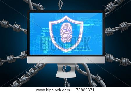 Fingerprint against blue background with vignette 3d