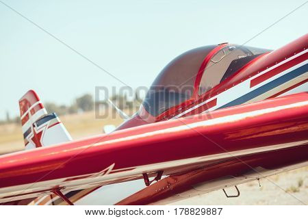 Cabin of a small sports plane, sunny day outdoors