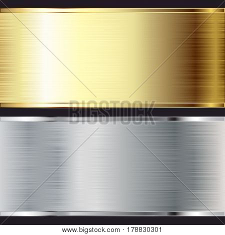 Metal background. Texture Steel and Gold. Set. Illustration