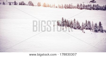 Scenic view of snow covered landscape during winter