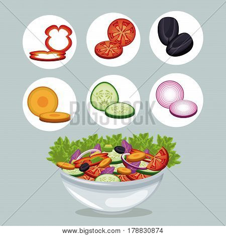 bowl salad vegetables appetizer dinner vector illustration eps 10