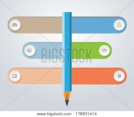 Infographics education, design marketing icons for layout, diagram, annual report. Business concept web options. Illustration