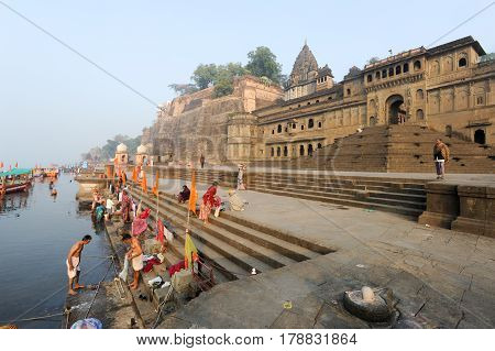 People Washing Themselves On Sacred River Narmada At Maheshwar