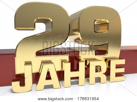Golden digit twenty nine and the word of the year. Translated from the German - years.3D illustration