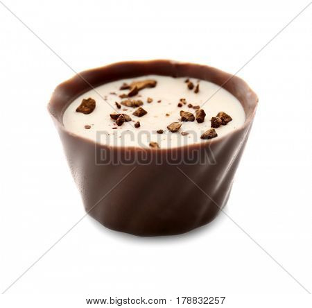 Delicious chocolate praline candy, isolated on white