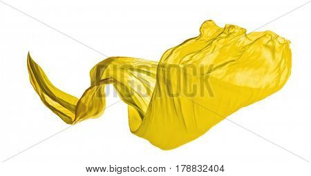 Smooth elegant yellow transparent cloth isolated on white background. Texture of flying fabric.