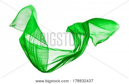 Smooth elegant green transparent cloth separated on white background. Texture of flying fabric.