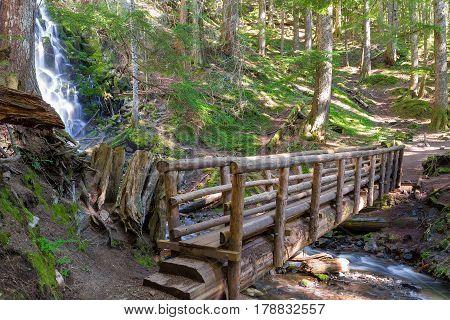 Wooden Foot bridge along hiking trail by Ramona Falls Creek in Mount Hood national Forest Oregon