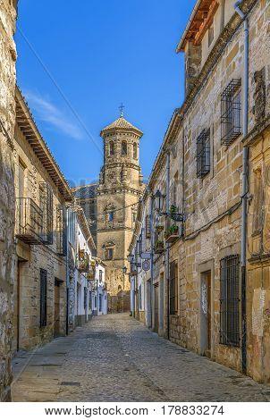 Narrow street in historical center of Baeza Spain