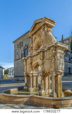 Santa Maria fountain was constructed in the second half of the 16th century Baeza Spain