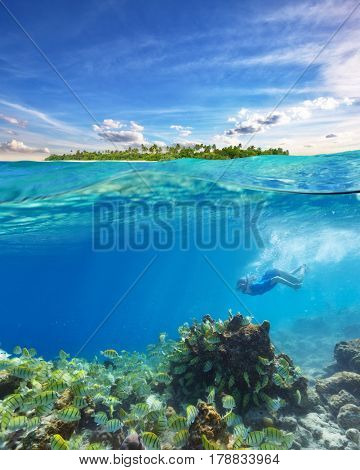 Young woman snorkeling and exploring corals, underwater sea life with colored fish. Half to half concept