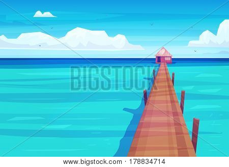 Holidays by the sea. Backgrounds of the beautiful ocean and house. Vector stock illustration . Natural landscape graphics.