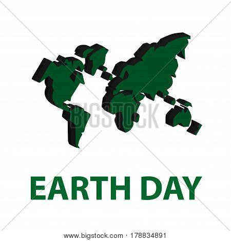 A Green Volumetric Map Of The Earth With Continents And An Inscription Earth Day On White Background