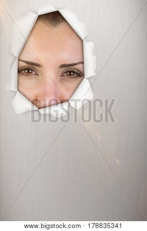 Portrait of beautiful woman making face against blue background 3d