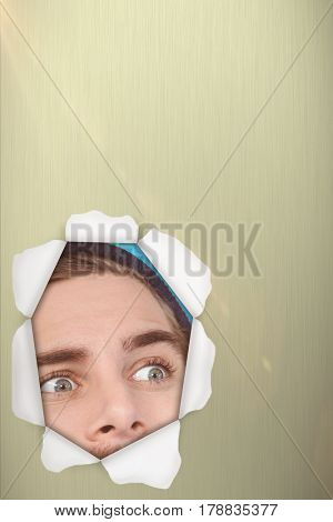 Hipster making face while taking selfie on mobile phone against blue background 3d