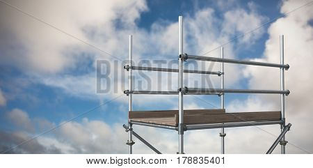 Digitally generated image of scaffolding against blue sky with white clouds 3d