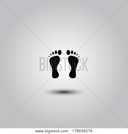 Foot print vector icon on white background. Footprint vector clip art. Footprint black shape.