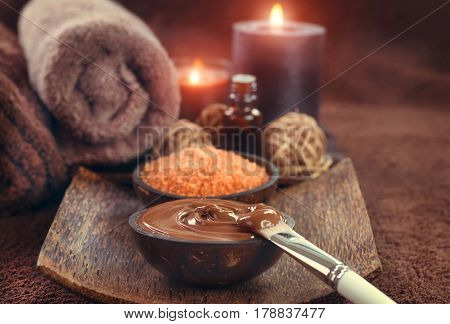 Chocolate Spa, Mask, Bath salt, brown sugar scrub for healthy body and face skin. Aromatherapy. Luxury Spa Treatment. Day-spa.