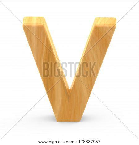 Wooden Grain Letter V