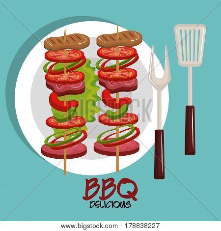 meat stick delicious bbq food vector illustration design