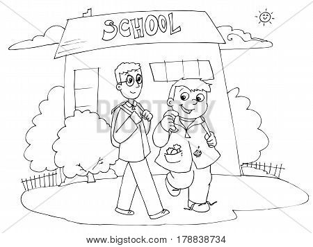 Two boys happily going to school. Coloring vector