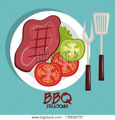 delicious meat beef bbq menu vector illustration design