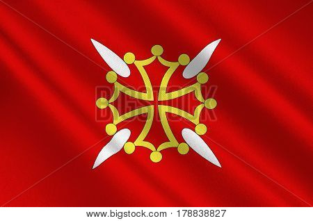 Flag of Haute-Garonne is a department in the southwest of France. 3d illustration