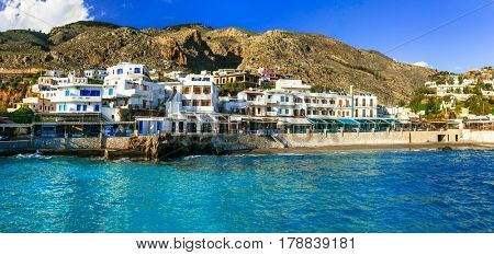 Beautiful places in Crete - pictorial small village Chora Sfakion. Traditional Greece series