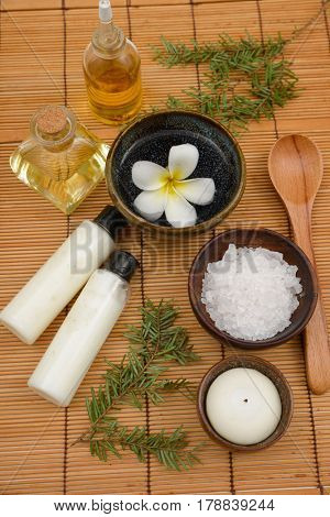 Spa treatment on mat background