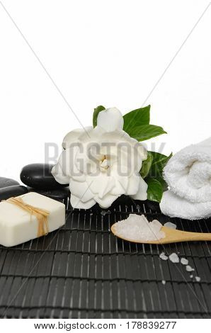 Set of with stones and gardenia ,soap on bamboo mat