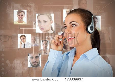Call center agent looking upwards while talking against brown background