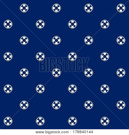 White Lifebuoy on Blue Background ,Seamless Marine Pattern, Travel and Tourism Concept ,Vector Illustration