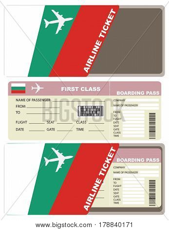 Plane ticket first class in Bulgaria. Vector illustration.