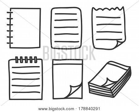 Icon Notebook Thin Line Hand Drawn Vector Set Art Illustration