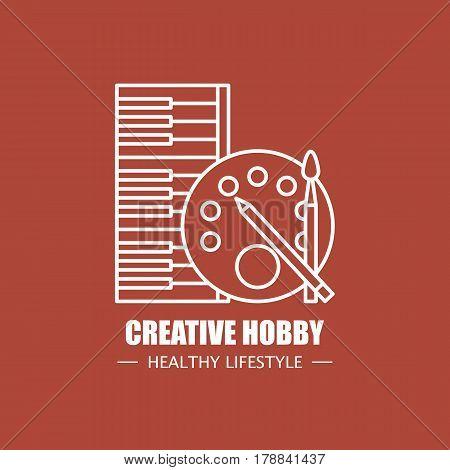 Creative hobby vector logo design template. Modern linear branding element for healthy lifestyle company or art school illustration