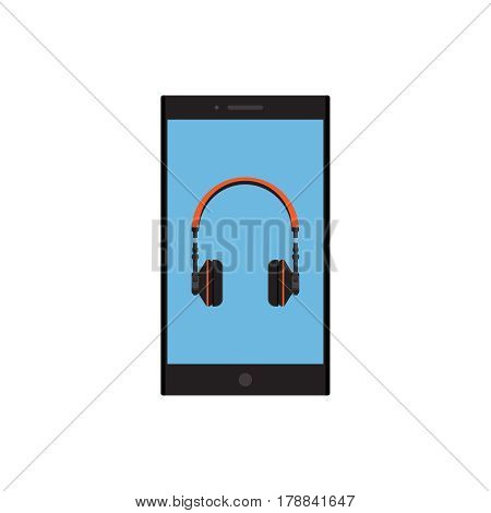 Headphones with phone on background vector concept. Headset illustration in modern flat style. Color picture for design web site, web banner, printing. Dj headphones icon. Earphones vector element.
