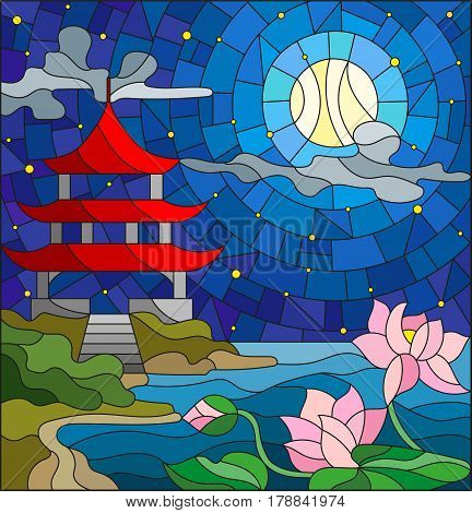 Illustration in stained glass style with Oriental landscape the Eastern Church with the red roof against the cloudy sky and sun a river with blossoming Lotus flowers in the foreground