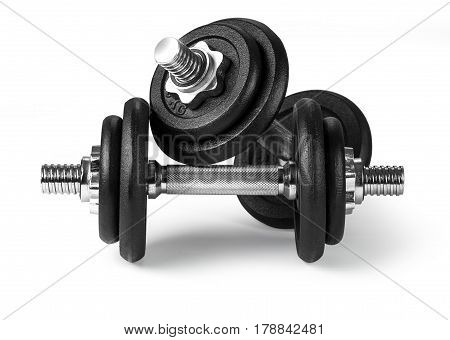 dumbbells over white background. with clipping path