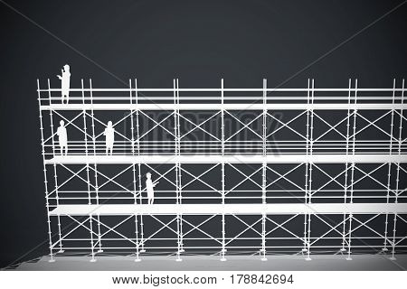 Architect woman with yellow helmet and plans against dark grey background 3d