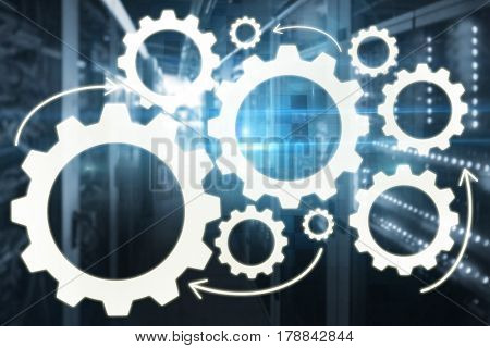Graphic image of gears against technical background with squares 3d