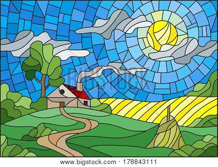 Illustration in stained glass style landscape with a lonely house amid fieldsun and sky